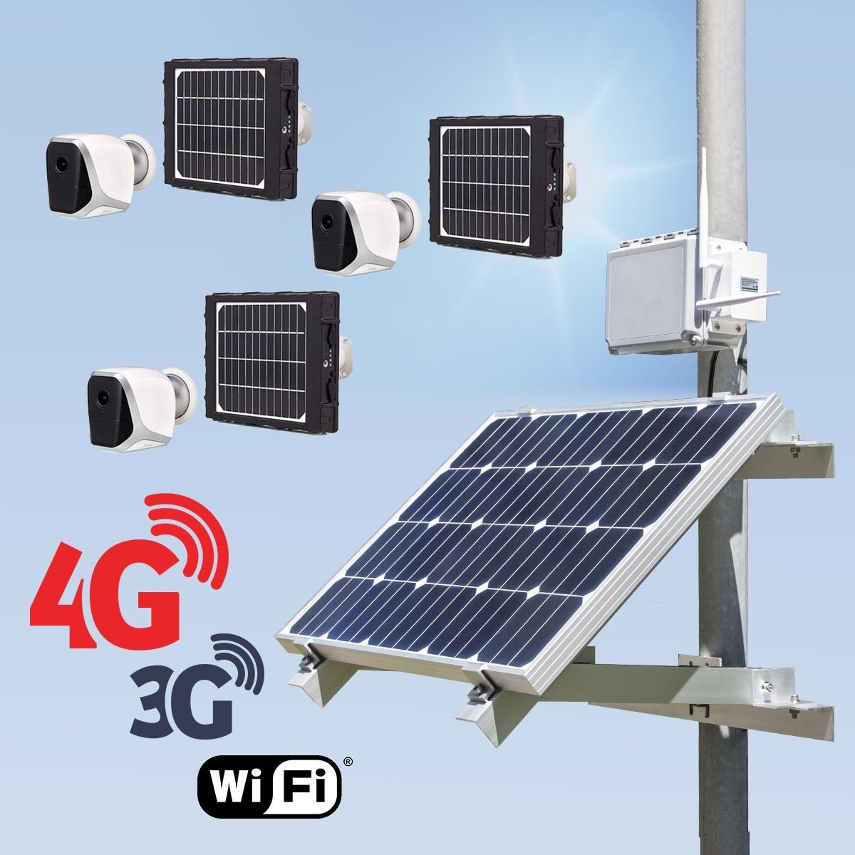Kit vidéosurveillance 3G 4G autonome solaire avec 3 smart caméra solaire WiFi HD 1080P