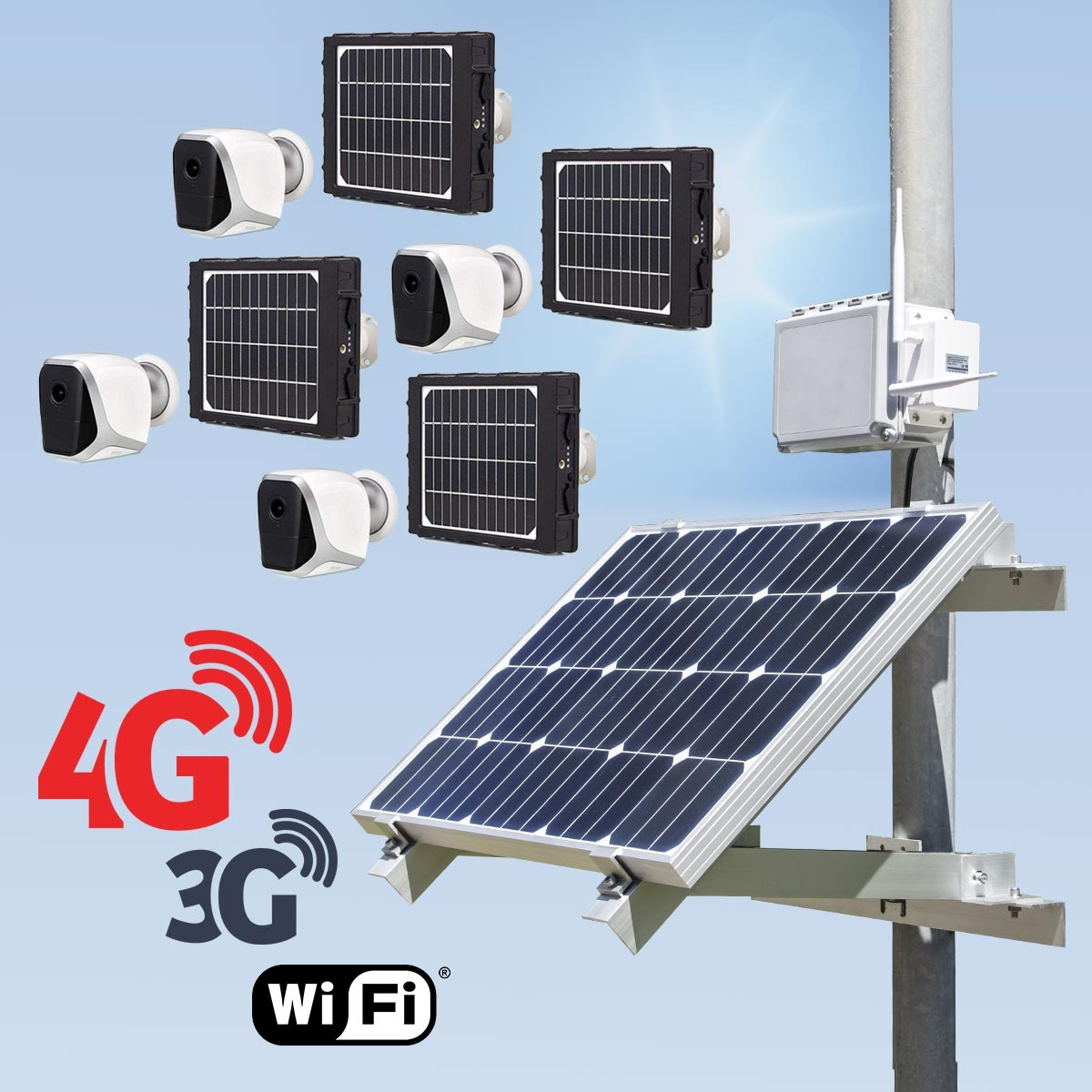 Kit vidéosurveillance 3G 4G autonome solaire avec 4 smart caméra solaire WiFi HD 1080P 64 Go