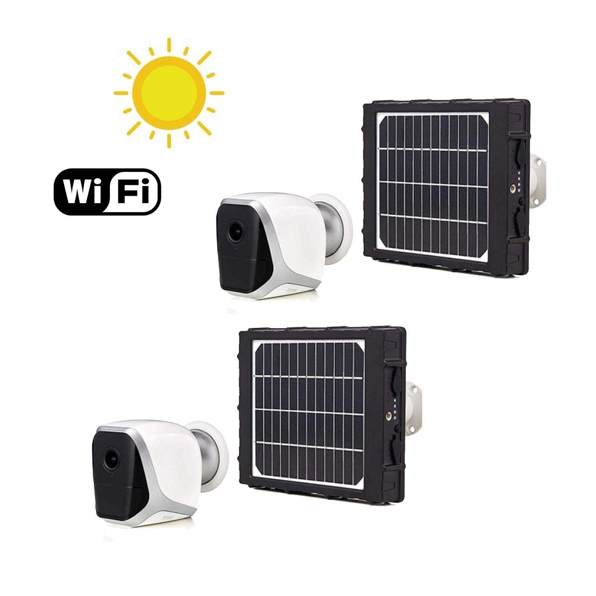 Kit de 2 Smart caméras solaires autonome WiFi HD 1080P