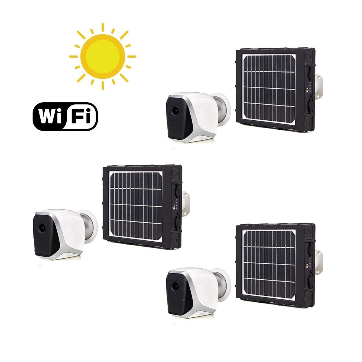 Kit de 3 Smart caméras solaires autonomes WiFi HD 1080P
