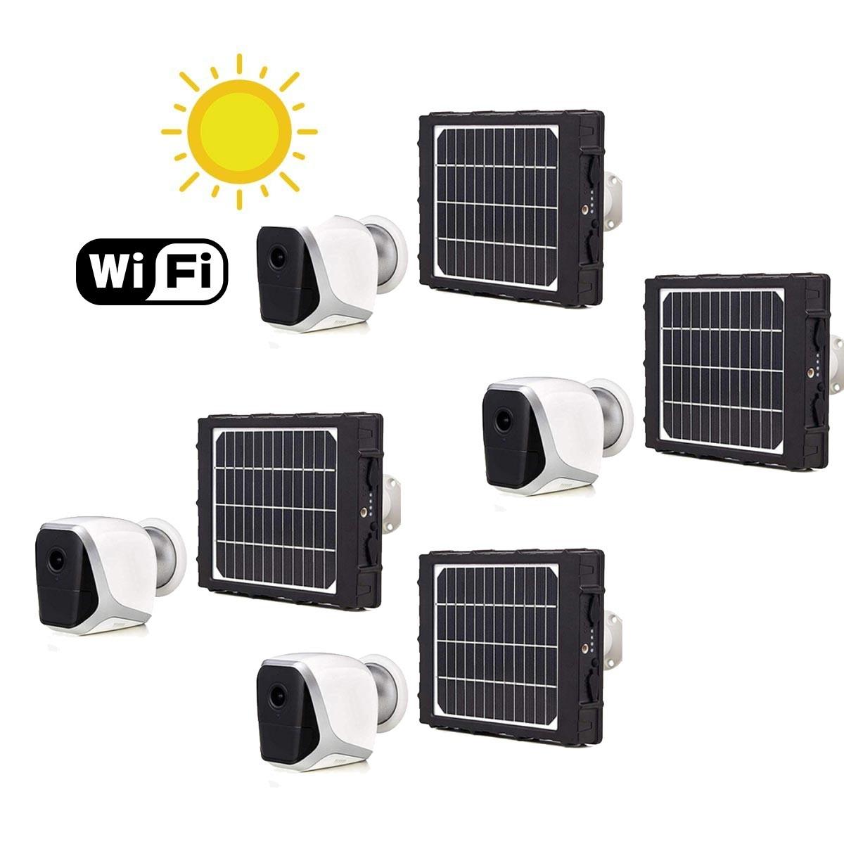 Kit de 4 Smart caméras solaires autonomes WiFi HD 1080P
