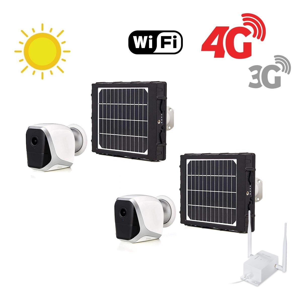 Kit de 2 smart caméras solaires Wifi HD 1080P avec routeur GSM 3G 4G WiFi