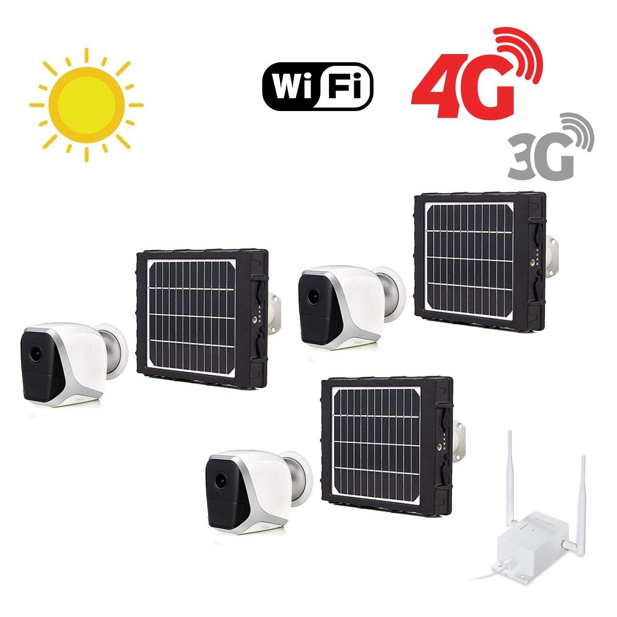 Kit de 3 smart caméras solaires Wifi HD 1080P waterproof Infrarouges accès à distance via iPhone Android 64 Go inclus avec routeur GSM 3G 4G WiFi