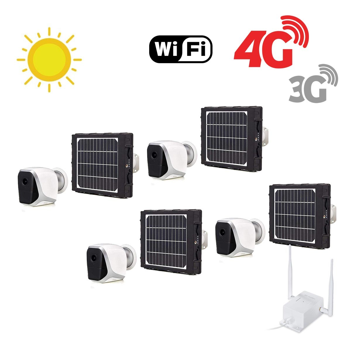 Kit de 4 smart caméras solaires Wifi HD 1080P waterproof Infrarouges accès à distance via iPhone Android 64 Go inclus avec routeur GSM 3G 4G WiFi