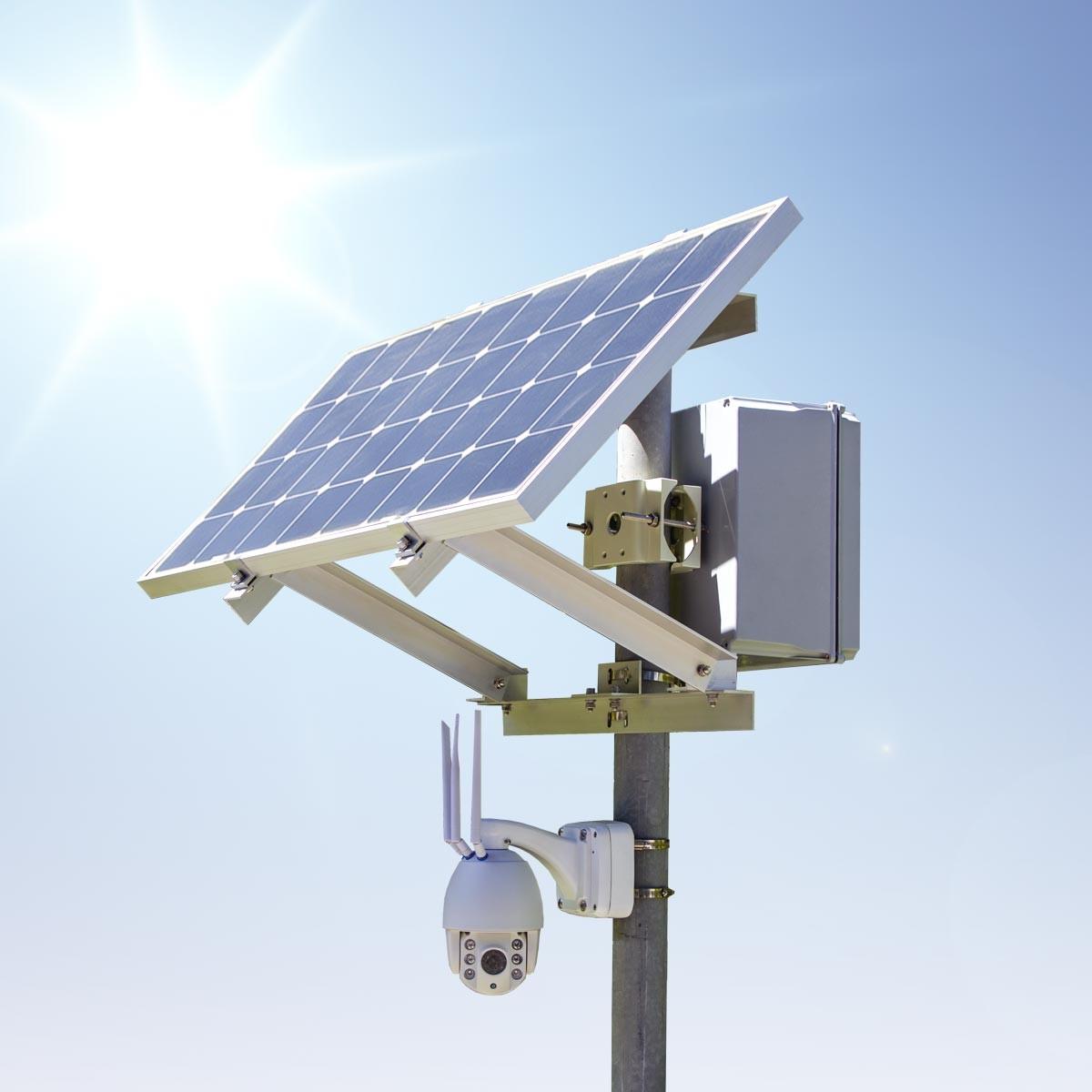 Kit caméra PTZ solaire autonome 4G waterproof extérieure HD 1080P panneau solaire batterie et fixation mat avec carte micro SDXC 64Go