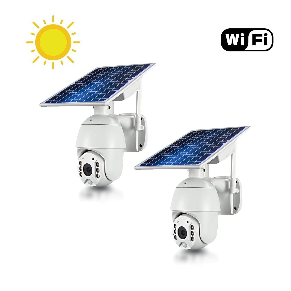 Kit 2 caméras pilotables solaires IP Wifi HD 1080P waterproof Infrarouges accès à distance via iPhone Android 64 Go inclus