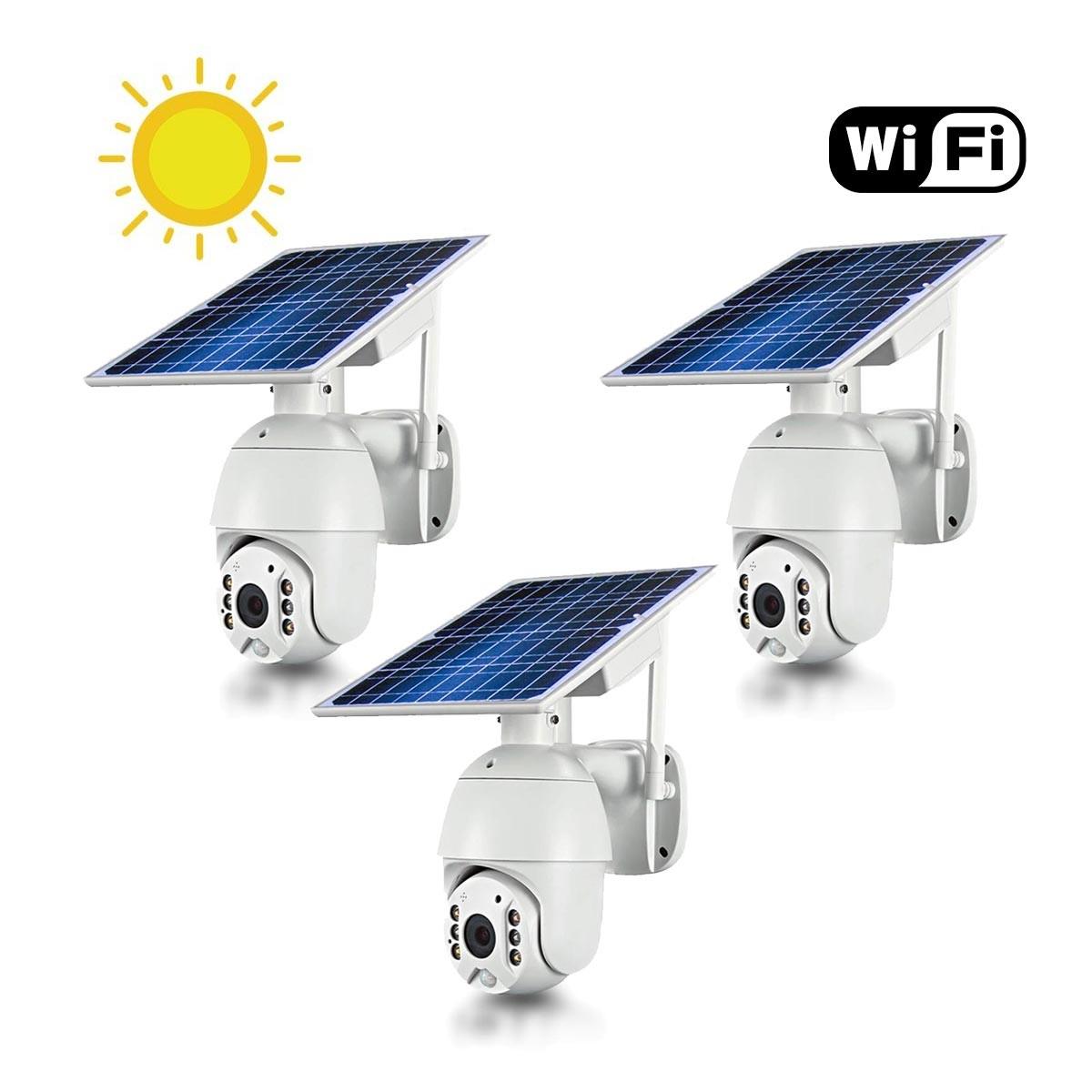 Kit 3 caméras pilotables solaires IP Wifi HD 1080P waterproof Infrarouges accès à distance via iPhone Android 64 Go inclus