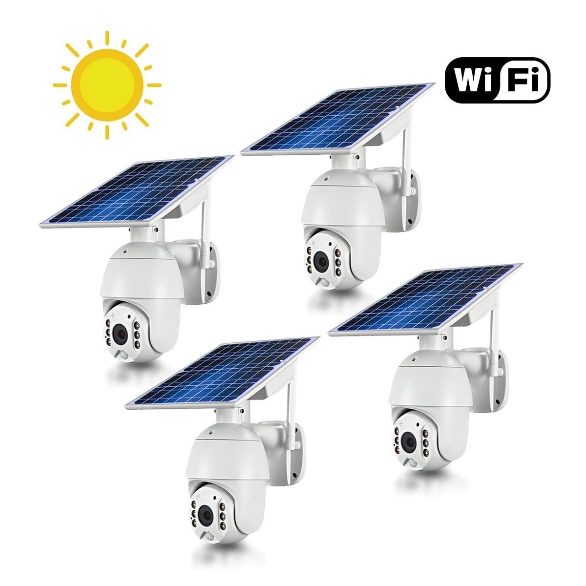 Kit 4 caméras pilotables solaires IP Wifi HD 1080P waterproof Infrarouges accès à distance via iPhone Android 64 Go inclus
