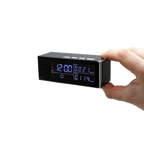 Horloge Station de contrôle qualité d'air avec caméra cachée IP Wi-Fi HD 1080P 64Go