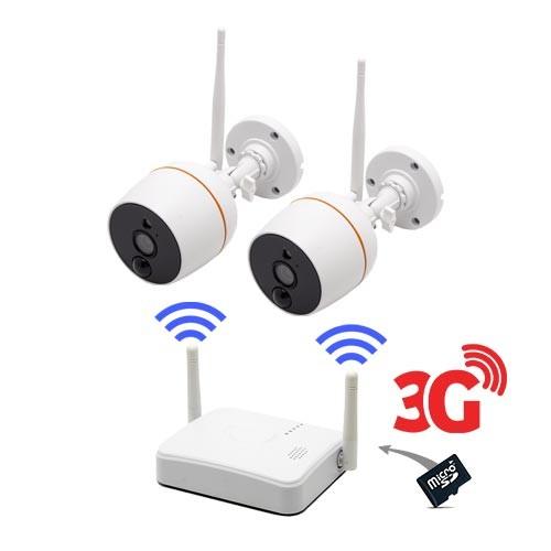 Kit vidéosurveillance 3G avec 2 caméras Wi-Fi HD 1080P
