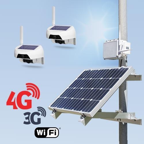 Kit vidéosurveillance 3G 4G autonome solaire avec une caméra solaire Wi-Fi HD 720P