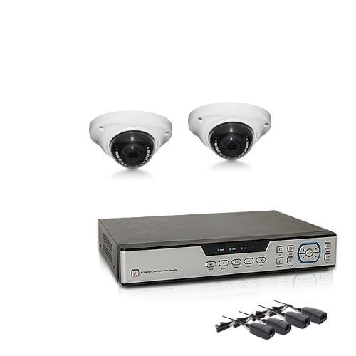 Kit vidéosurveillance avec enregistreur IP 1 TO et 2 caméras dôme AHD 1080P intérieure extérieure