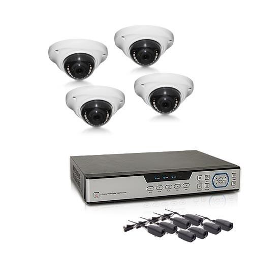 Kit vidéosurveillance avec enregistreur IP 1 TO et 4 caméras dôme AHD 1080P intérieure extérieure