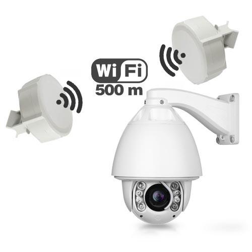 Caméra IP pilotable PTZ avec pont WiFi longue portée 500 mètres