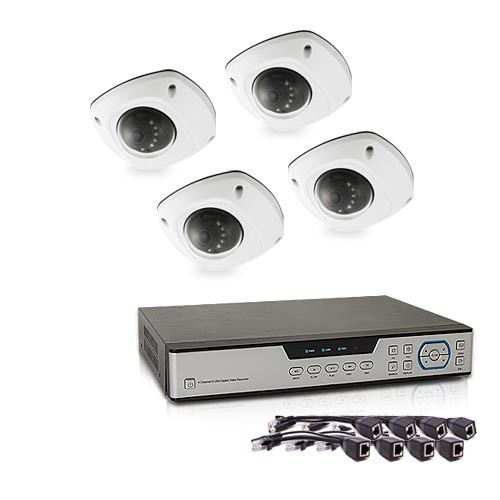Kit de vidéosurveillance 5 Mpx intérieur extérieur avec enregistreur IP 1To et 4 caméras dôme HD 1080P PoE
