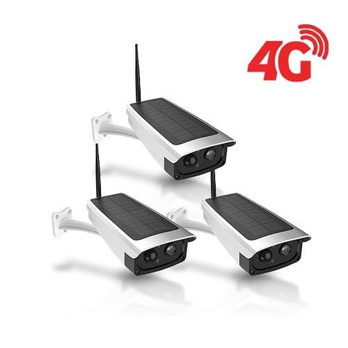 Kit 3 caméras solaires 3G 4G IP / WiFi extérieures HD 1080P 32Go