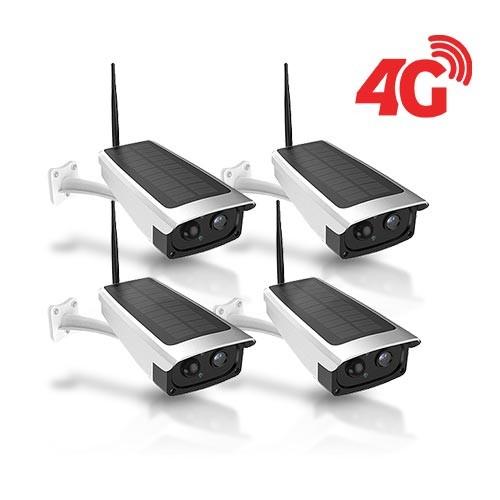 Kit 4 caméras solaires 3G 4G IP / WiFi extérieures HD 1080P 32Go