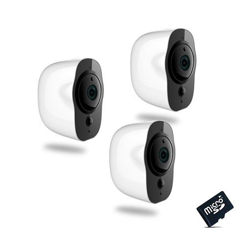 Kit de 3 Smart caméra alarme Wi-Fi HD 1080P, 64Go,