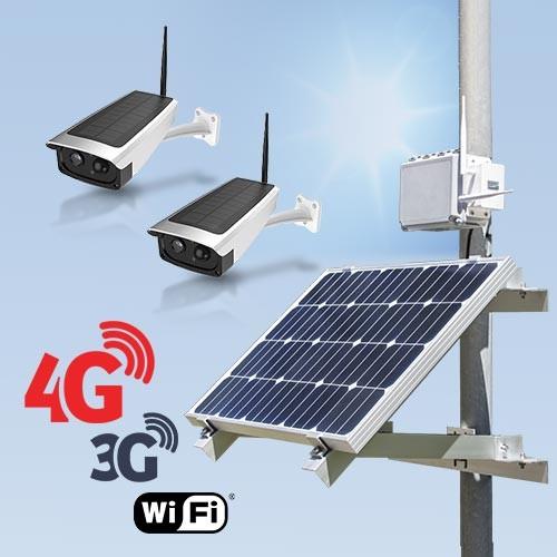 Kit vidéosurveillance 3G 4G autonome solaire avec 2 caméras solaires Wi-Fi HD 1080P