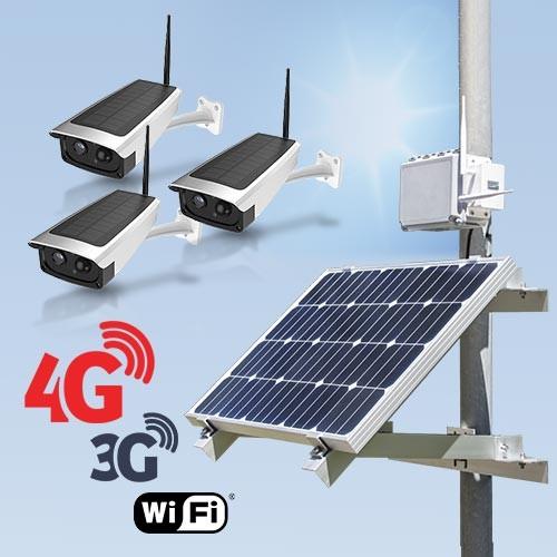 Kit vidéosurveillance 3G 4G autonome solaire avec 3 caméras solaires Wi-Fi HD 1080P