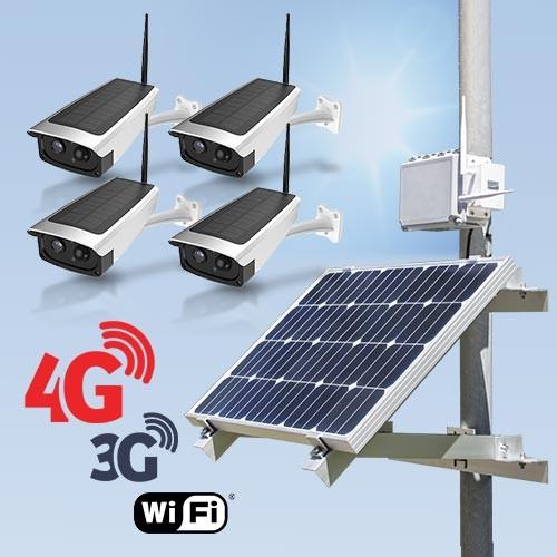 Kit vidéosurveillance 3G 4G autonome solaire avec 4 caméras solaires Wi-Fi HD 1080P