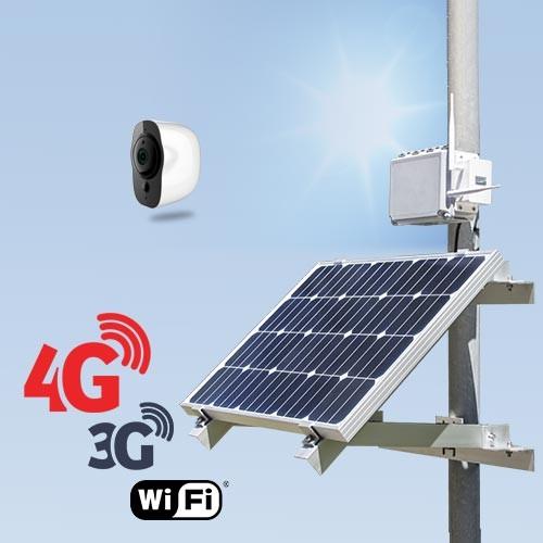 Kit vidéosurveillance 3G 4G autonome solaire avec 1 smart caméra Wi-Fi HD 1080P