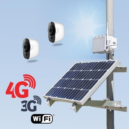 Kit vidéosurveillance 3G 4G autonome solaire avec 2 smart caméras Wi-Fi HD 1080P