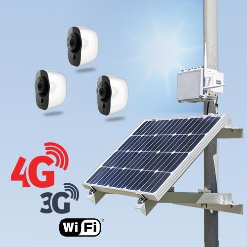 Kit vidéosurveillance 3G 4G autonome solaire avec 3 smart caméras Wi-Fi HD 1080P