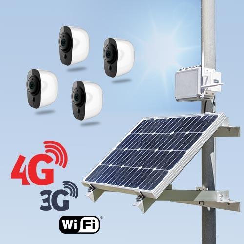 Kit vidéosurveillance 3G 4G autonome solaire avec 4 smart caméras Wi-Fi HD 1080P