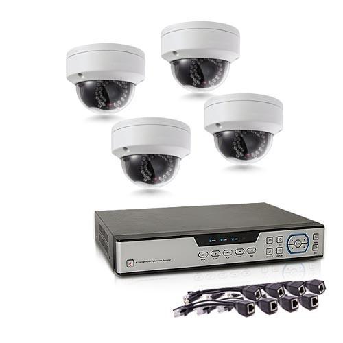 Kit de vidéosurveillance intérieur extérieur avec enregistreur IP 1To et 4 caméras dôme HD 1080P PoE