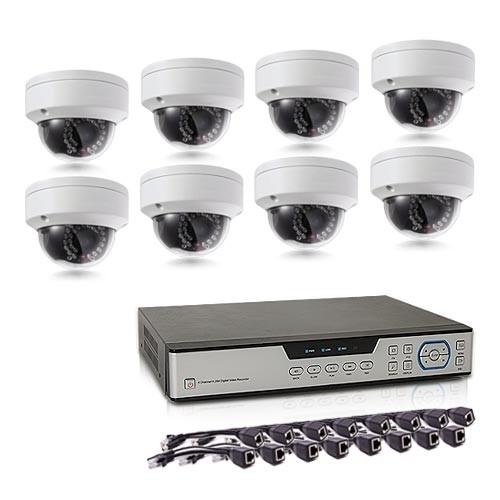 Kit de vidéosurveillance intérieur extérieur avec enregistreur IP 1To et 8 caméras dôme UHD 5 Mpx PoE