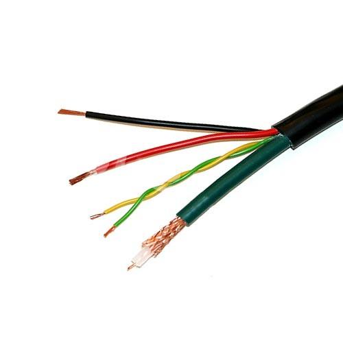 Câble hybride coaxial vidéo KX6 + alim. caméra 2x0.75 mm² + 1 paire data 0.34 noir