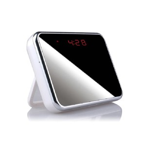 Horloge miroir de bureau avec caméra autonome discrète HD 960P audio vidéo