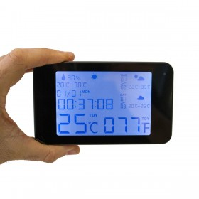 Horloge station météo micro caméra IP WiFi HD avec vision nocturne microSD 128 Go incluse