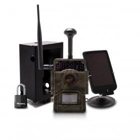 Caméra de chasse HD 1080P IR invisible GPS GSM 4G alerte push envoi photo et vidéo sur application iOS et Android serveur cloud e-mail et FTP avec batterie solaire et box antivandale