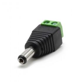 Connecteur alimentation jack DC mâle avec bornier Ø extérieur 5.5 mm intérieur 2.1mm