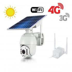 Kit caméra pilotable solaire Wifi HD 1080P waterproof Infrarouge accès à distance via iPhone Android 64 Go inclus avec routeur GSM 3G 4G WiFi