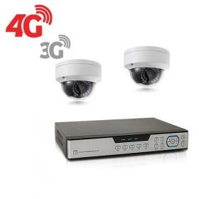 Kit de vidéosurveillance 3G 4G intérieur extérieur avec enregistreur IP 1To et 2 caméras dôme HD 1080P WIFI