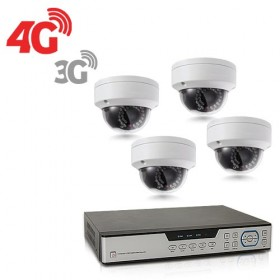 Kit de vidéosurveillance 3G 4G intérieur extérieur avec enregistreur IP 1To et 4 caméras dôme HD 1080P WIFI