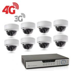 Kit de vidéosurveillance 3G 4G intérieur extérieur avec enregistreur IP 1To et 8 caméras dôme UHD 5Mpx WIFI