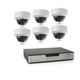 Kit de vidéosurveillance intérieur extérieur avec enregistreur IP 1To et 6 caméras dôme HD 1080P WIFI