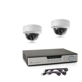 Kit de vidéosurveillance intérieur extérieur avec enregistreur IP 1To et 2 caméras dôme UHD 5 Mpx PoE