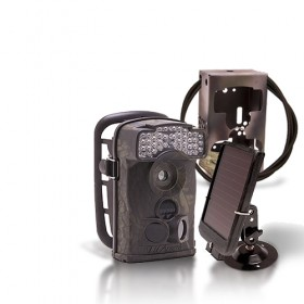 Dernière génération - Caméra de chasse autonome HD 720P IR avec batterie solaire & box anti-vandale