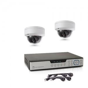 Kit de vidéosurveillance intérieur extérieur avec enregistreur IP 1To et 2 caméras dôme HD 1080P PoE