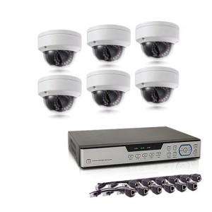 Kit de vidéosurveillance intérieur/extérieur avec enregistreur IP 1To et 6 caméras dôme HD 1080P PoE