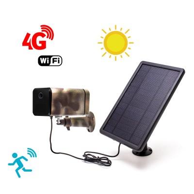 Caméra camouflage autonome solaire connexion 4G ou WiFi enregistrement HD 1080P détection PIR serveur cloud ou MicroSDHC 128 Go