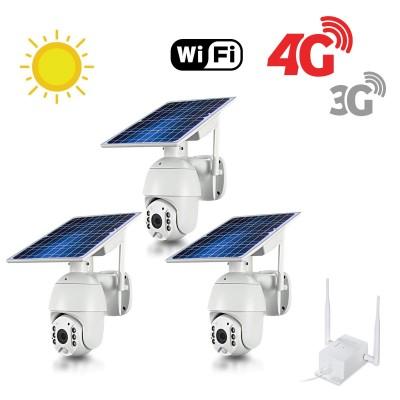 Kit 3 caméras pilotables solaires Wifi HD 1080P waterproof Infrarouges accès à distance via iPhone Android 64 Go inclus avec routeur GSM 3G 4G WiFi