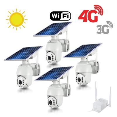 Kit 4 caméras pilotables solaires Wifi HD 1080P waterproof Infrarouges accès à distance via iPhone Android 64 Go inclus avec routeur GSM 3G 4G WiFi