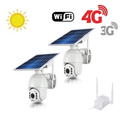 Kit 2 caméras pilotables solaires Wifi HD 1080P waterproof Infrarouges accès à distance via iPhone Android 64 Go inclus avec routeur GSM 3G 4G WiFi