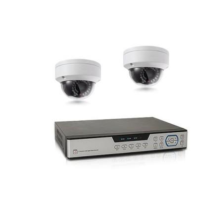 Kit de vidéosurveillance intérieur/extérieur avec enregistreur IP 1To et 2 caméras dôme HD 1080P WIFI